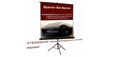 Projector with Screen 3000 Ansi Lumen with Tripod 1,8mx1,35m